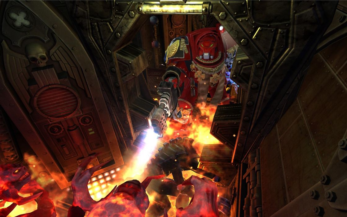 SPACE HULK Deathwing fantasy fighting warhammer action futuristic sci-fi warrior armor wallpaper