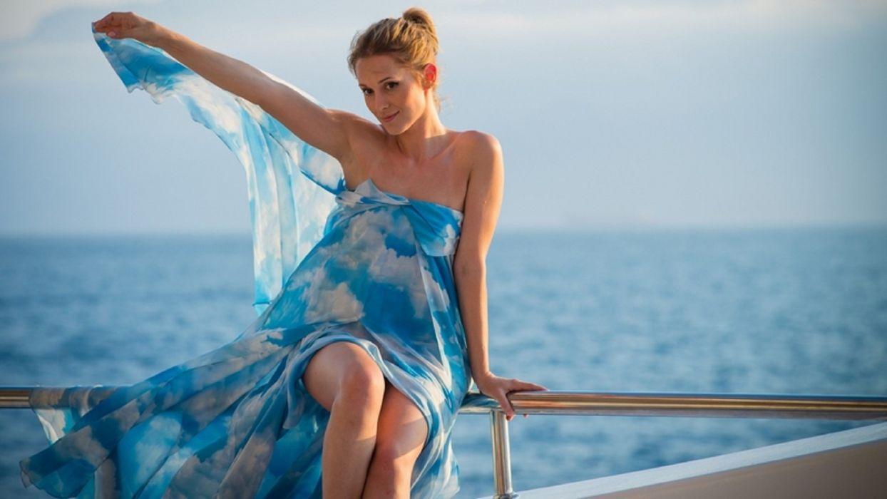 Ukrainian singer Aida Nikolaychuk beauty woman blonde aerial blue dress sea wallpaper