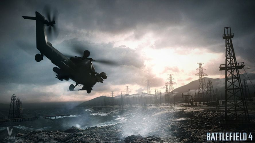BATTLEFIELD 4 shooter tactical stealth fighting action military four poster helicopter wallpaper