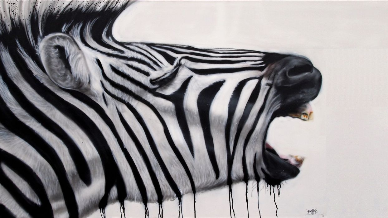 write out paint - zebra wallpaper