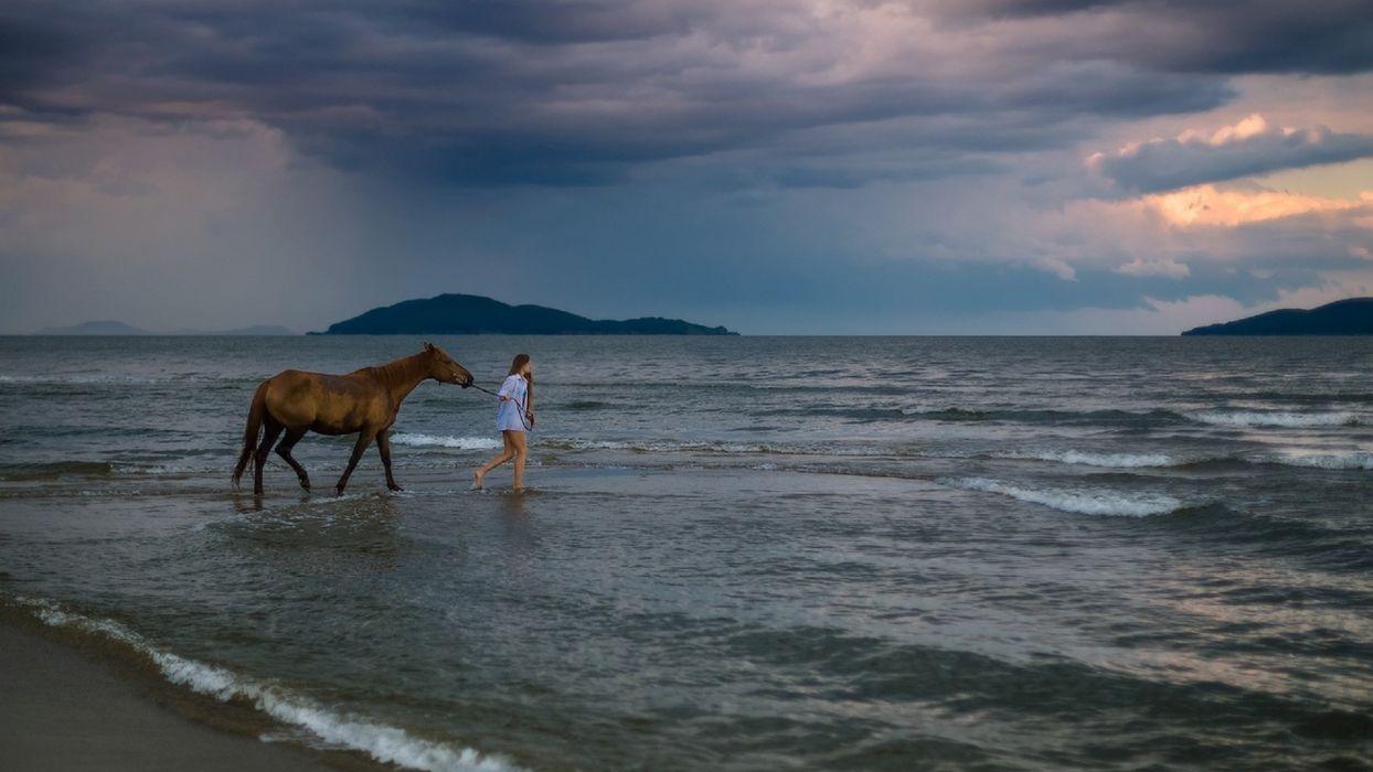 horse woman sea island wallpaper