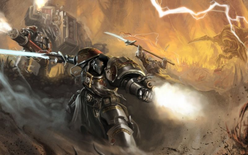WARHAMMER sci-fi fighting shooter action futuristic warrior 40k wallpaper