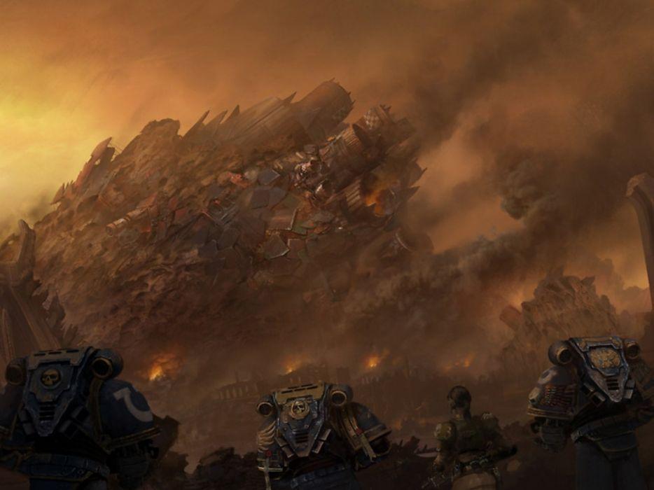 WARHAMMER sci-fi fighting shooter action futuristic warrior 40k wallpaper