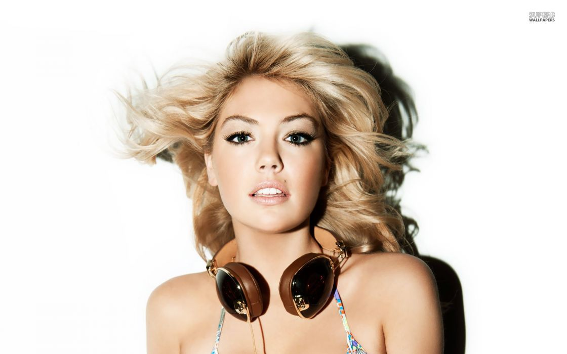 KATE UPTON actress model elite sexy babe blonde headphones wallpaper