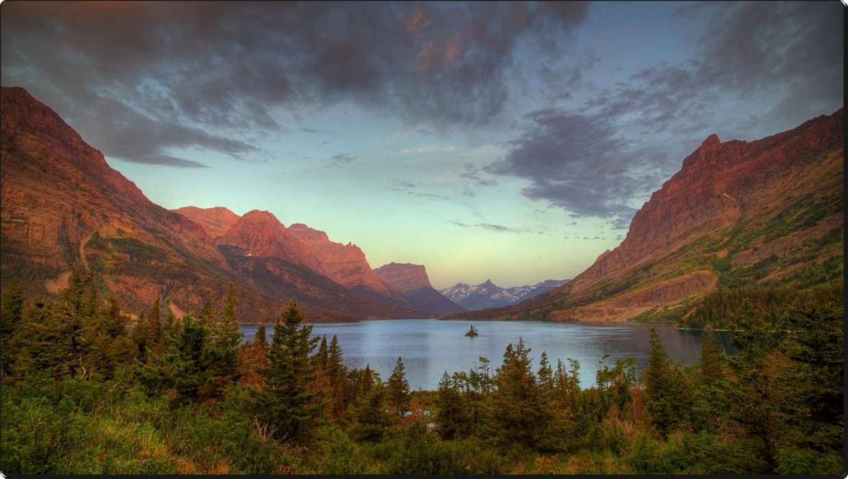 Wild Goose Island on Saint Mary Lake at Sunrise Glacier National Park Montana wallpaper