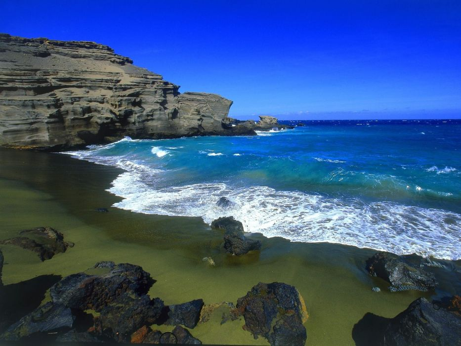 Green Beach Big Island Hawaii wallpaper
