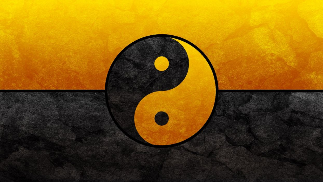Black and Gold Yin Yang wallpaper