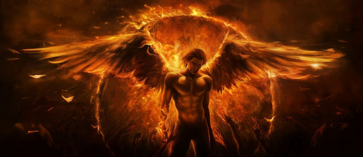 fantasy male-angels-artwork-design-fire wings wallpaper