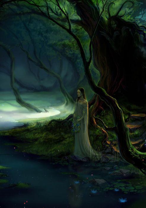 fantasy forest tree fairy girl dress lake flower lotus wallpaper