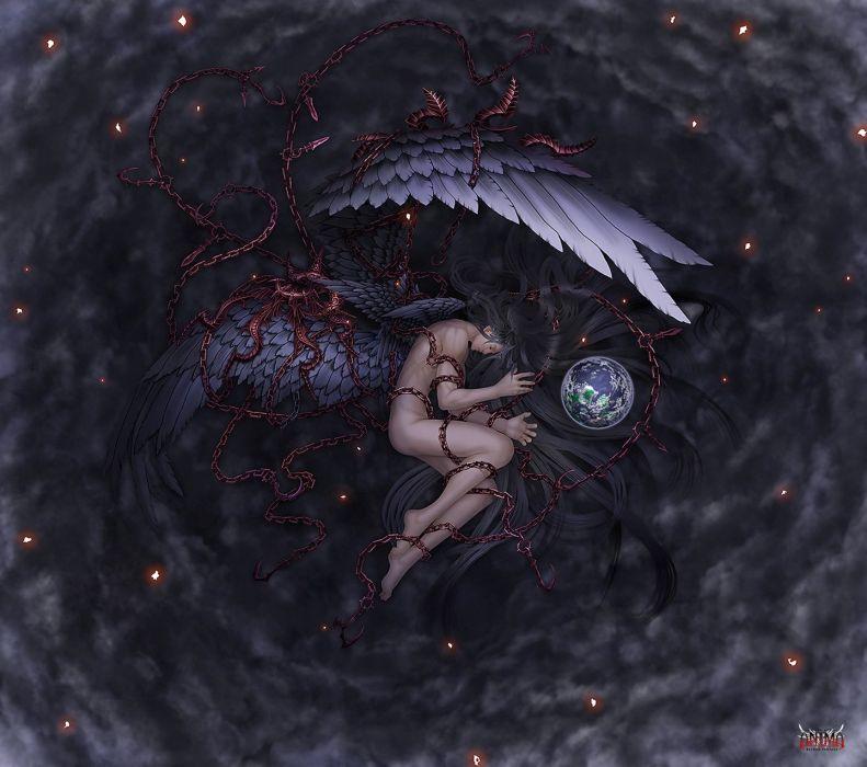 fantasy angel earth wings long hair chain wallpaper
