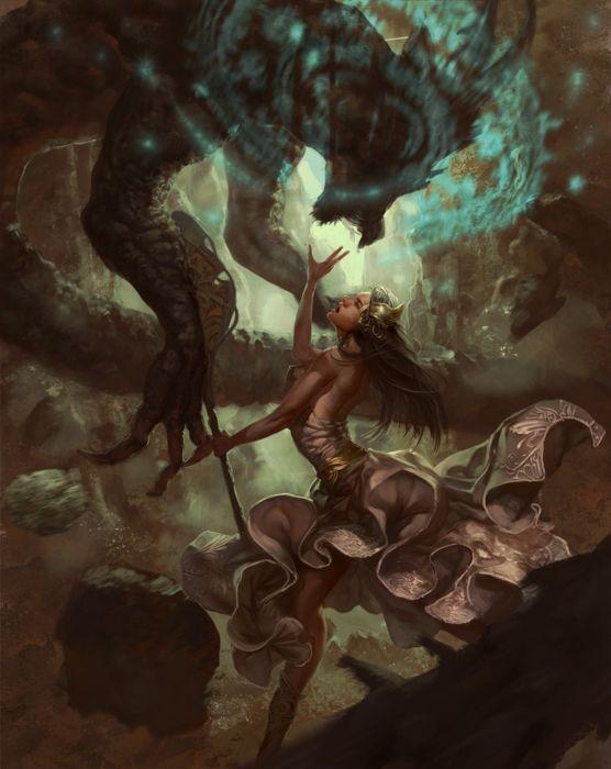 fantasy monster dress woman long hair magic wallpaper