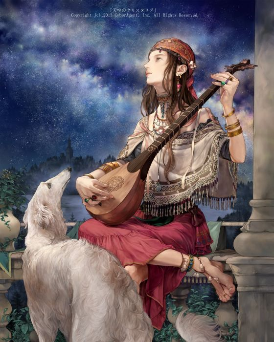 fantasy long hair dog animal sky stars music dress girl beautiful wallpaper