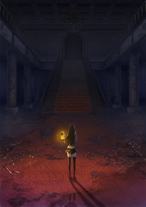 anime alone girl dark ruins lanb wallpaper