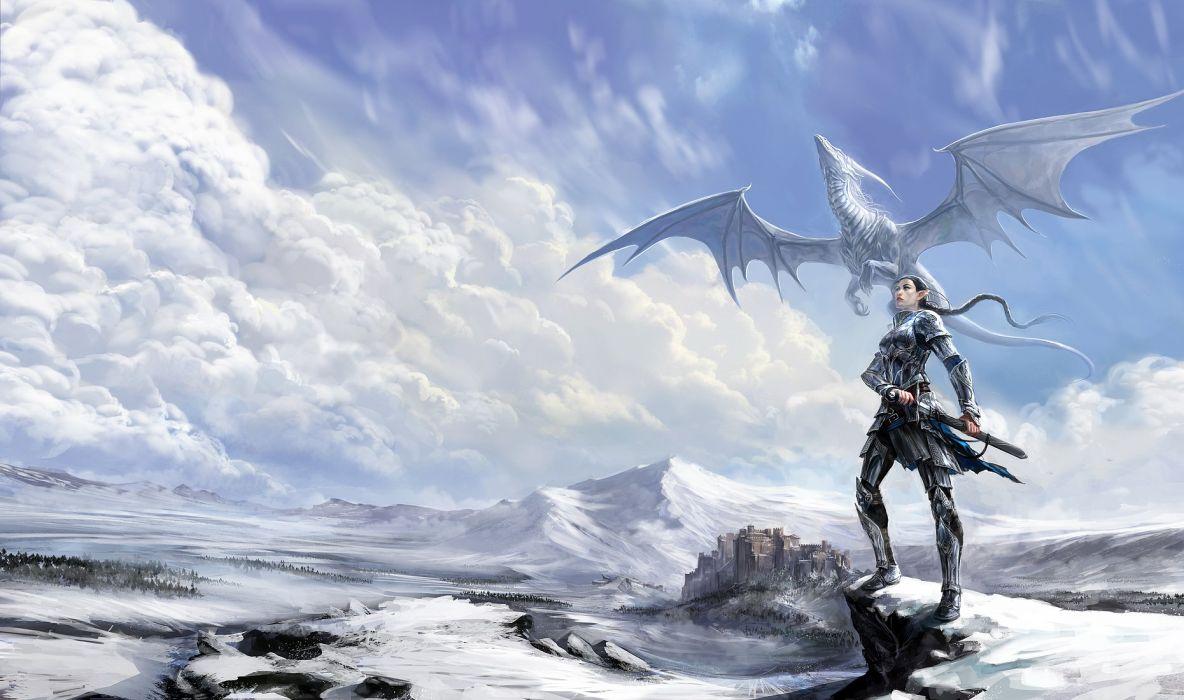 fantasy winter snow warrior girl dragon elf mountain clouds sky wallpaper