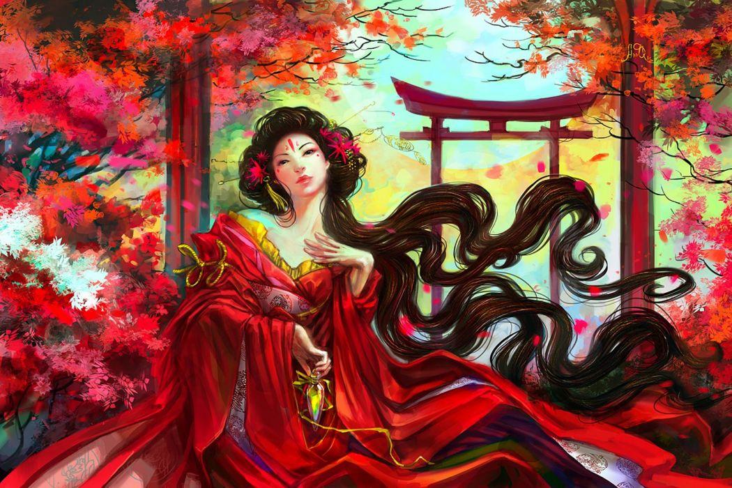 fantasy kimono long hair asian girl tree wallpaper