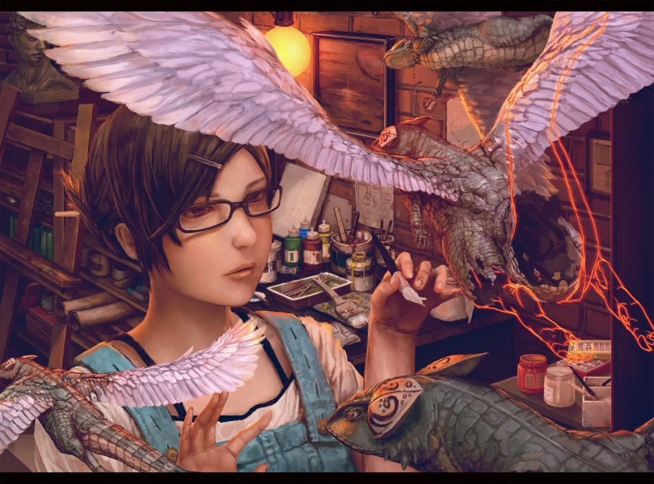 original painting girl fantasy dragon books color oil wallpaper