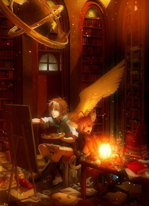 original angel wings painting drawing books wallpaper