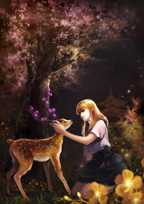 deer fantasy forest girl animal long hair dress flower wallpaper