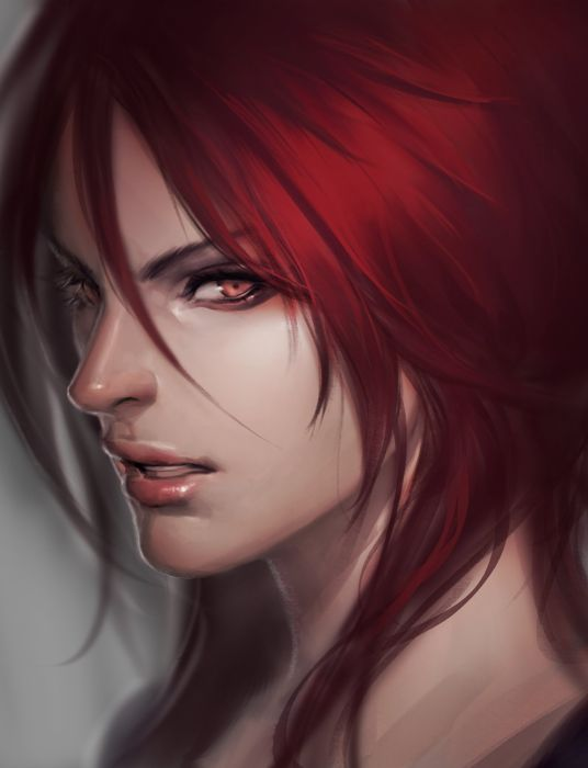 league+of+legends game red hair red eyes face wallpaper