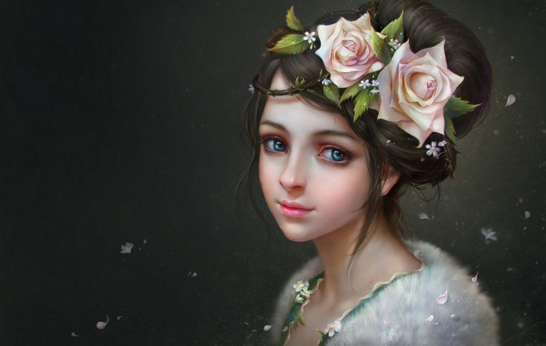 original flower hair face green eyes fantasy beautiful dress wallpaper