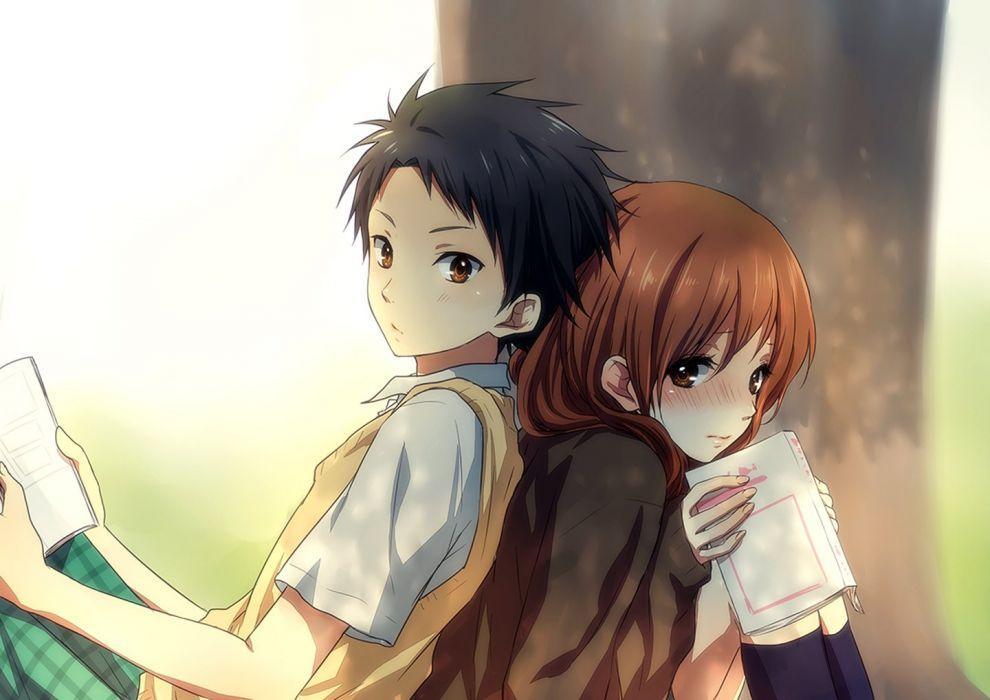 anime couple school girl guy uniform tree love wallpaper
