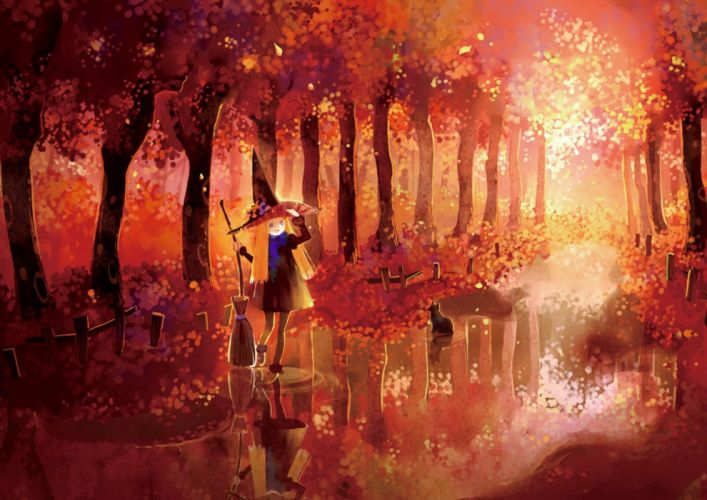 fantasy long hair cat animal forest red dress girl beautiful witch wallpaper