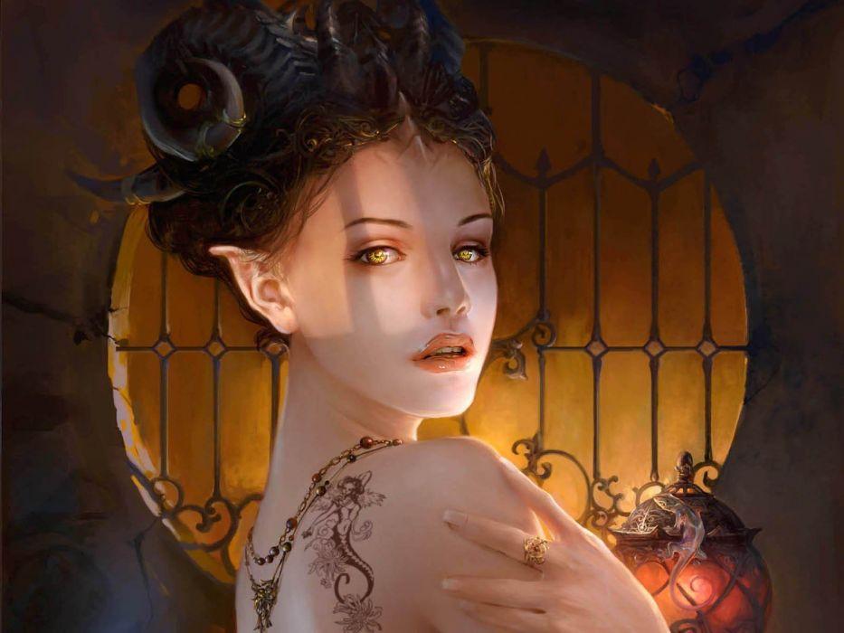 artwork-fantasy-art-yellow eyes elf girl wallpaper