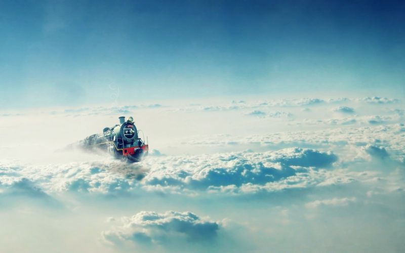 train clouds fantasy sky fly blue wallpaper
