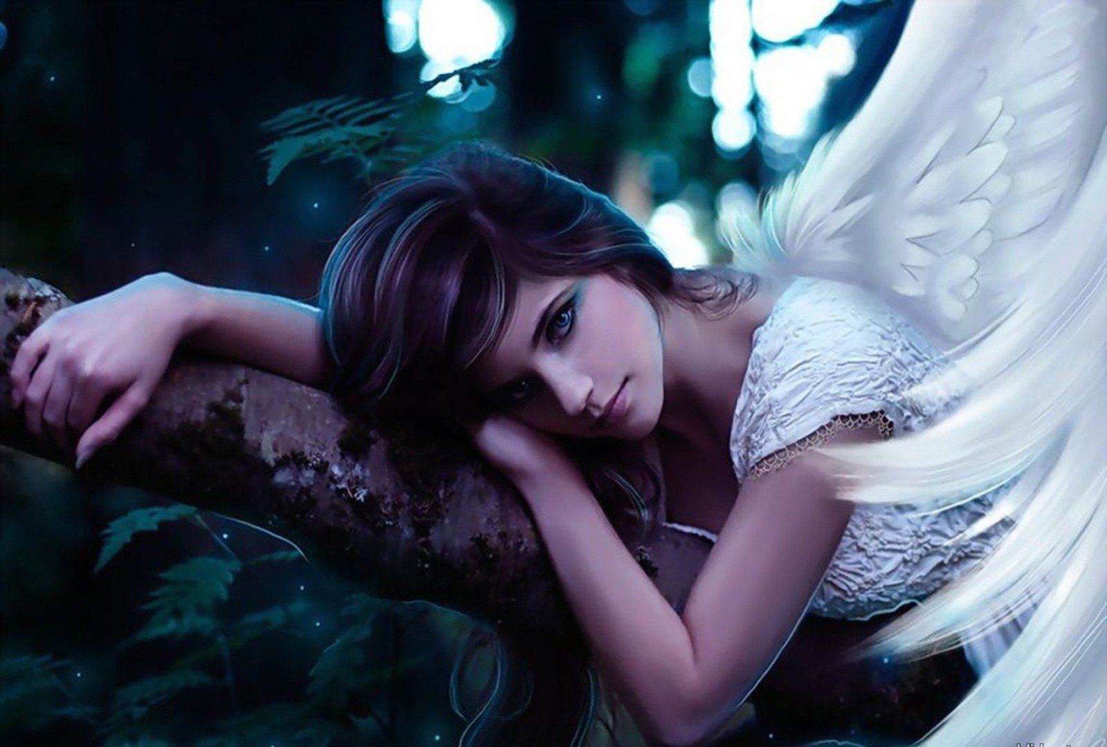 angel wings girl fantasy tree face beautiful wallpaper