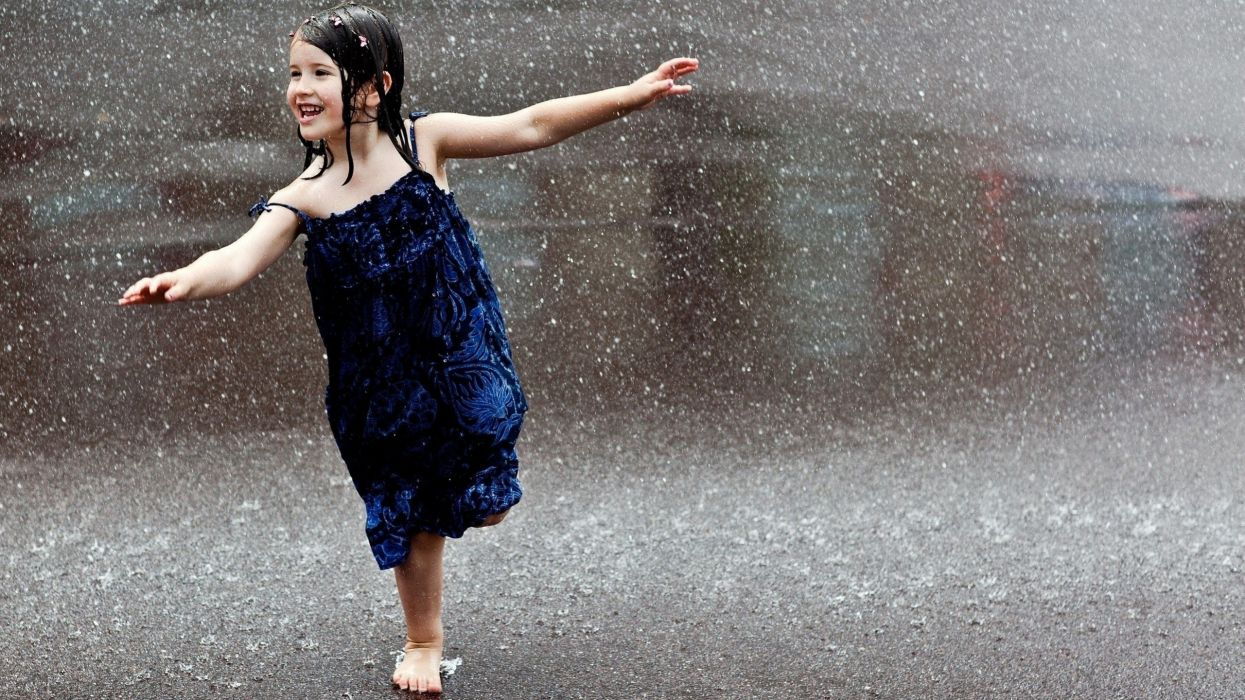 -smiling-happiness-running-wet-children dress rain smile mood wallpaper