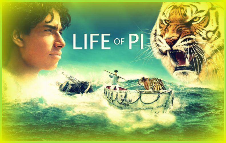 LIFE Of Pi family adventure drama fantasy tiger 3-d animation 1lifepi friend shipwreck predator tiger ocean sea voyage ship boat poster wallpaper
