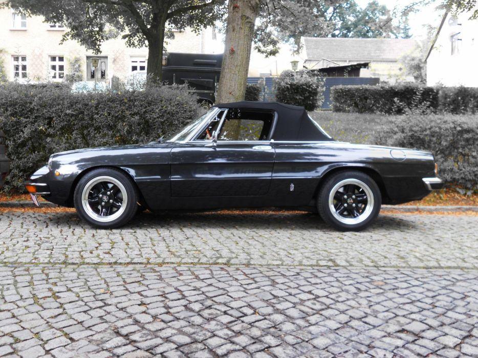 alfa romeo spider classic cars convertible noir black wallpaper