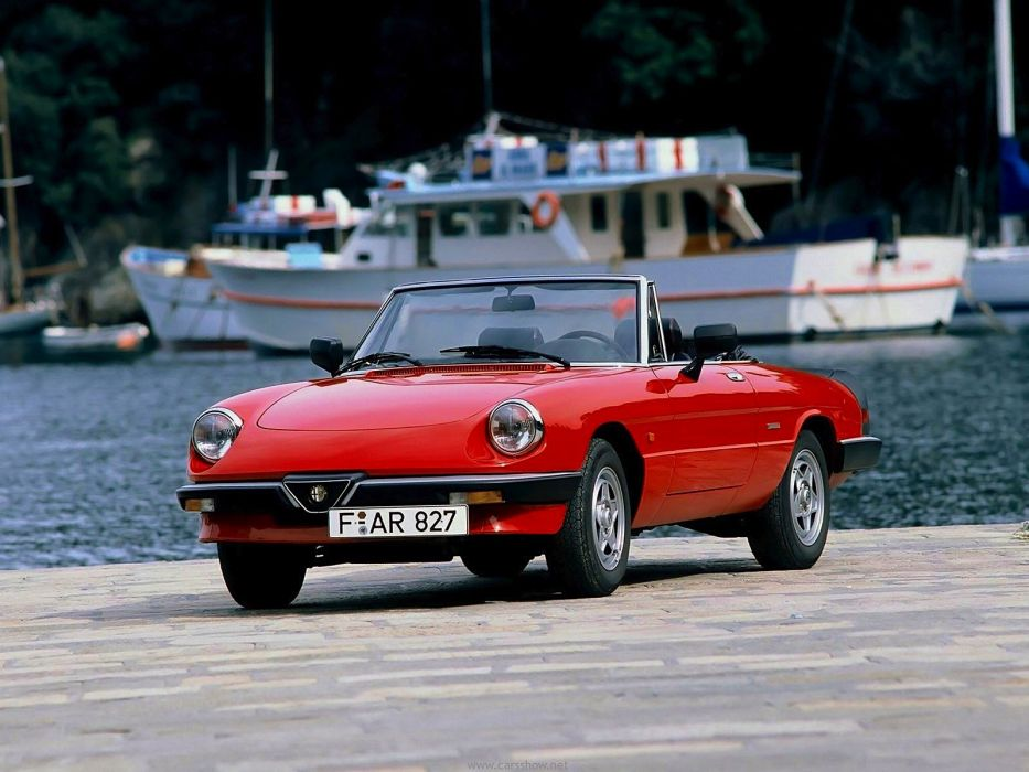 alfa romeo spider classic cars convertible red rouge wallpaper