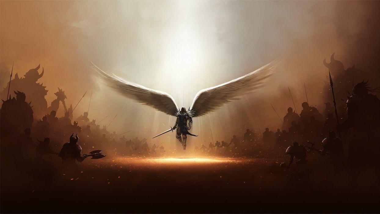 diablo-tyrael-angels-armor-army fantasy wallpaper