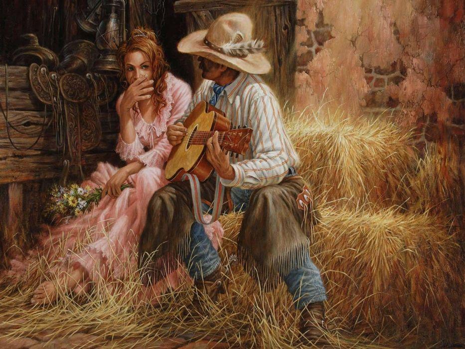 drawings art girl male guitar Serenade music enstA wallpaper