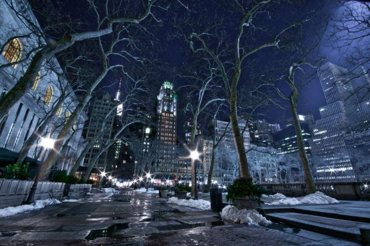 cityscapes-winter snow night city wallpaper