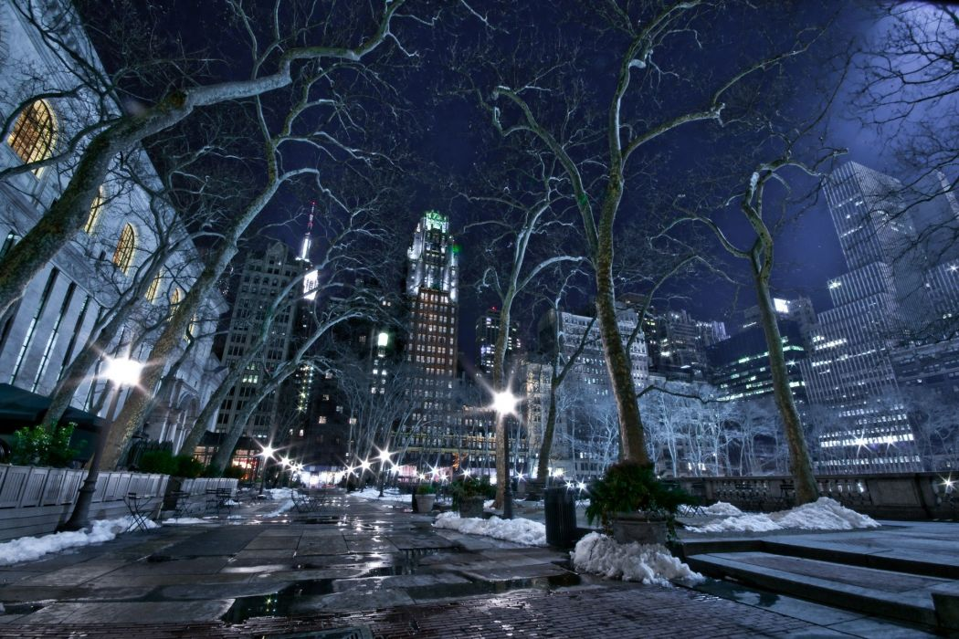 cityscapes-winter snow night city wallpaper