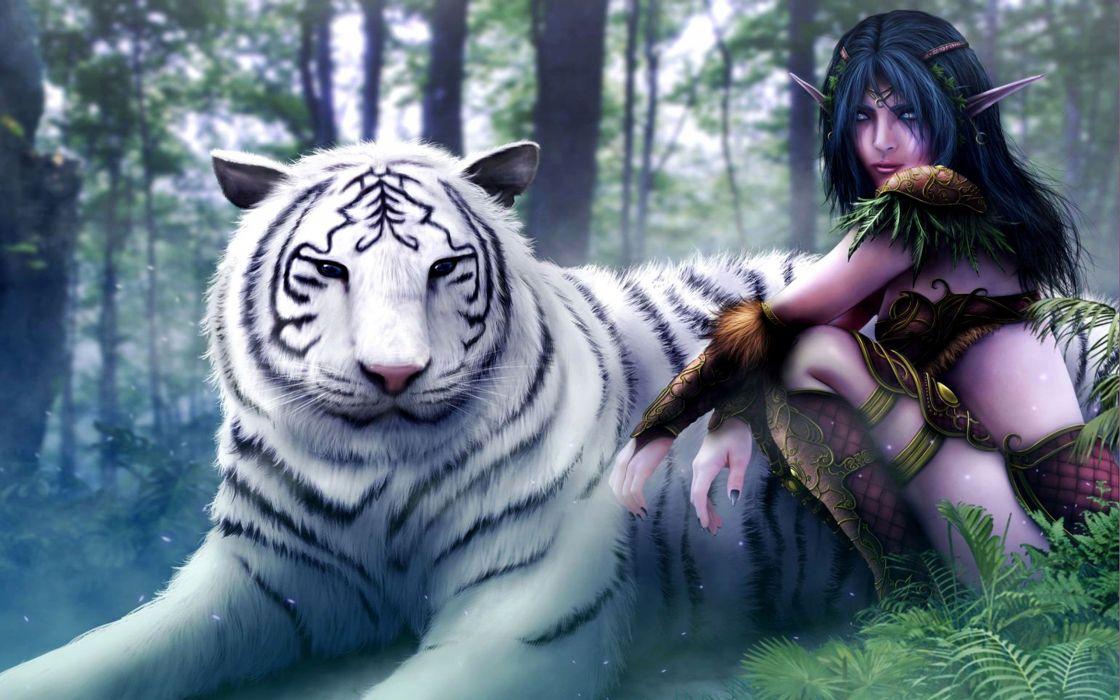 world-of-warcraft-artwork-drawings-animal tiger forest wallpaper
