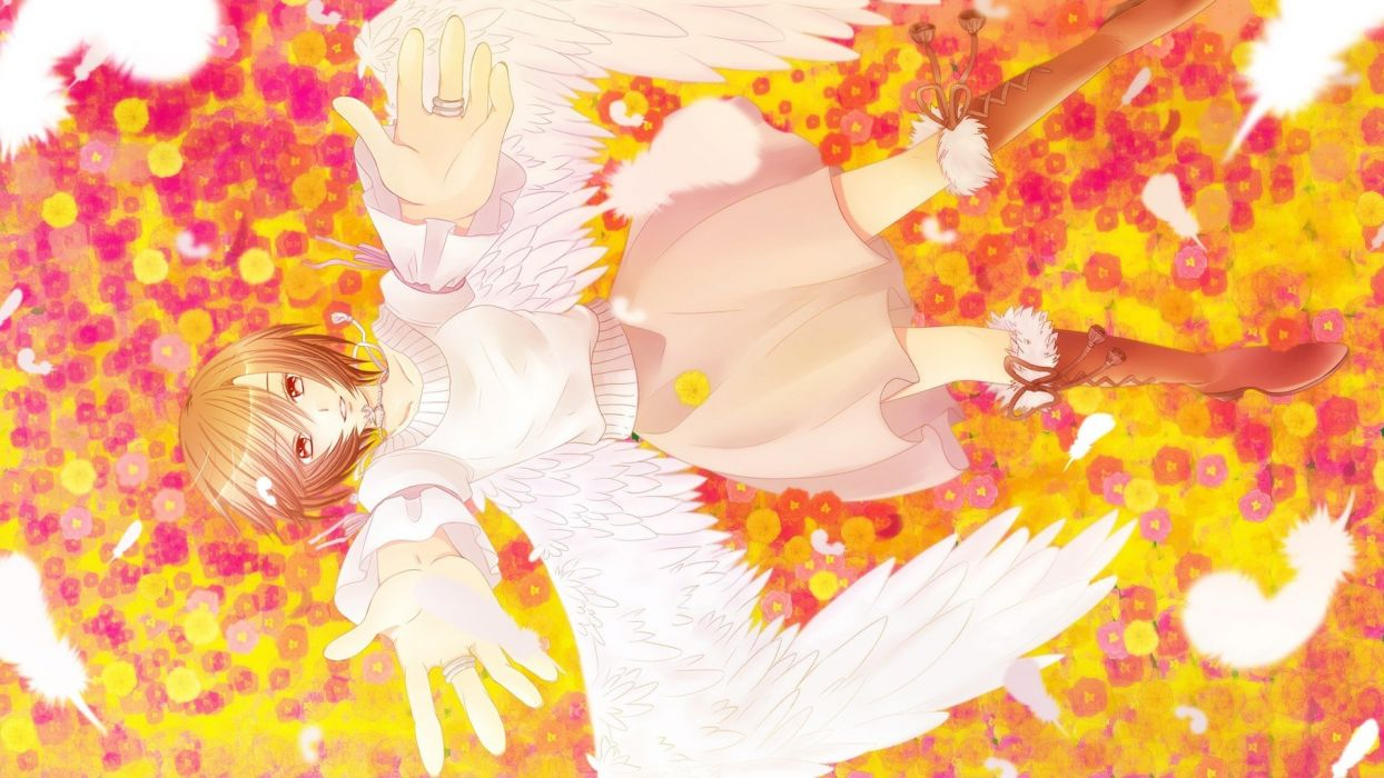 meiko-vocaloid-angels-boots-brown-eyes-anime wings girl dress wallpaper