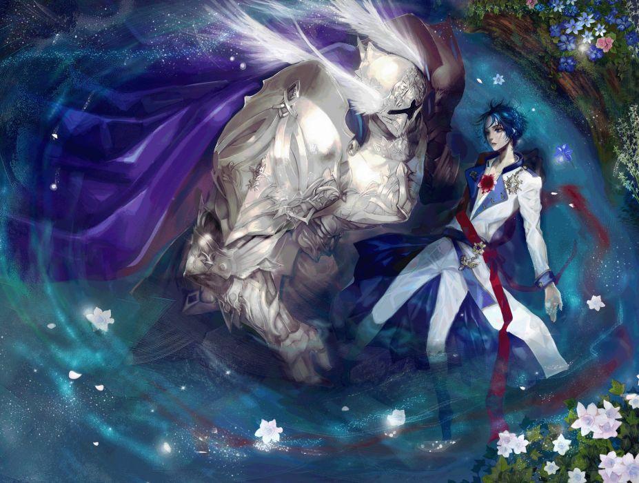 astarone-short+hair-blue+eyes-water flower anime blue+hair-male wallpaper