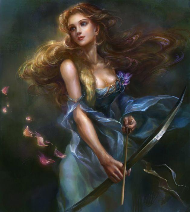 breasts-brown+hair petals girl warrior bow arrow wallpaper
