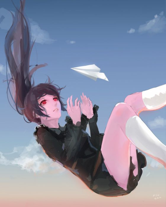 anime school girl uniform sky fly red eyes long hair wallpaper