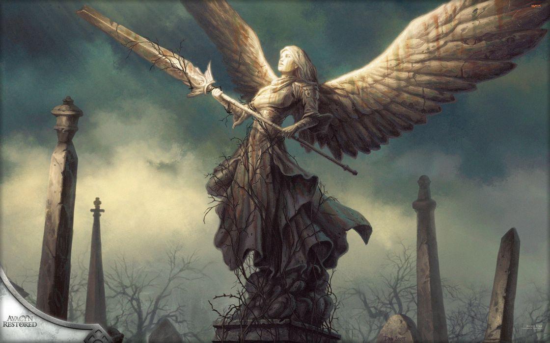 Magic The Gathering Angels Artwork Fantasy Wings Wallpaper