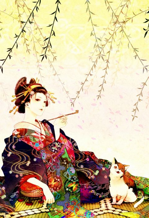 anime girl cat animal kimono smoking design wallpaper