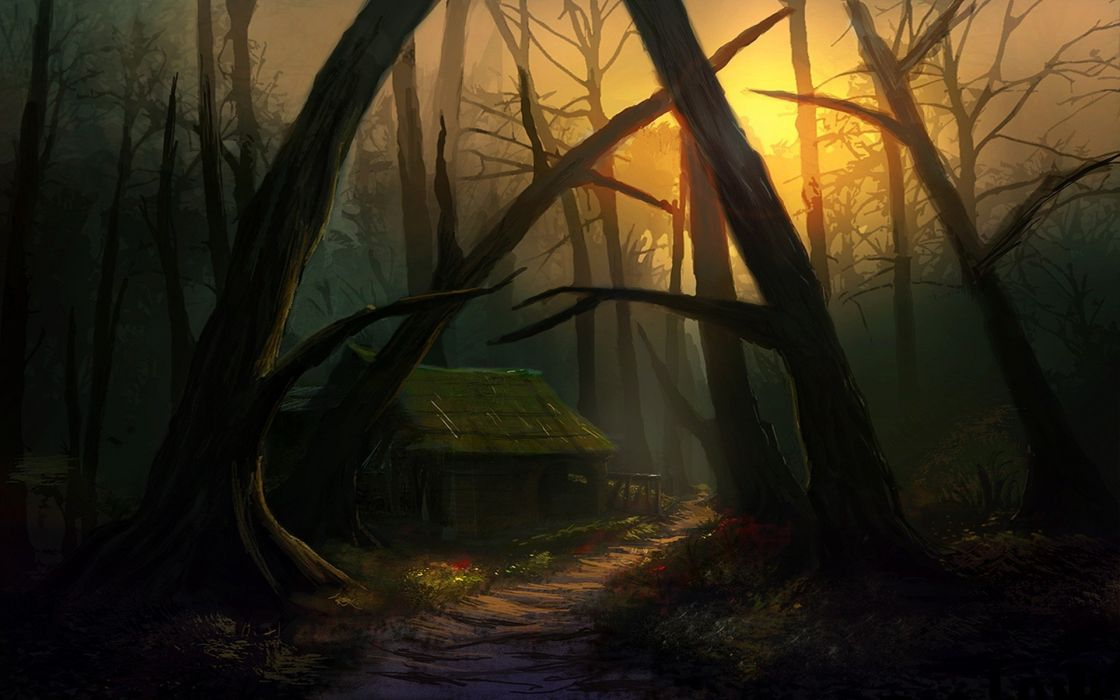sun-drawings-evening-forests-houses-sunshine wallpaper
