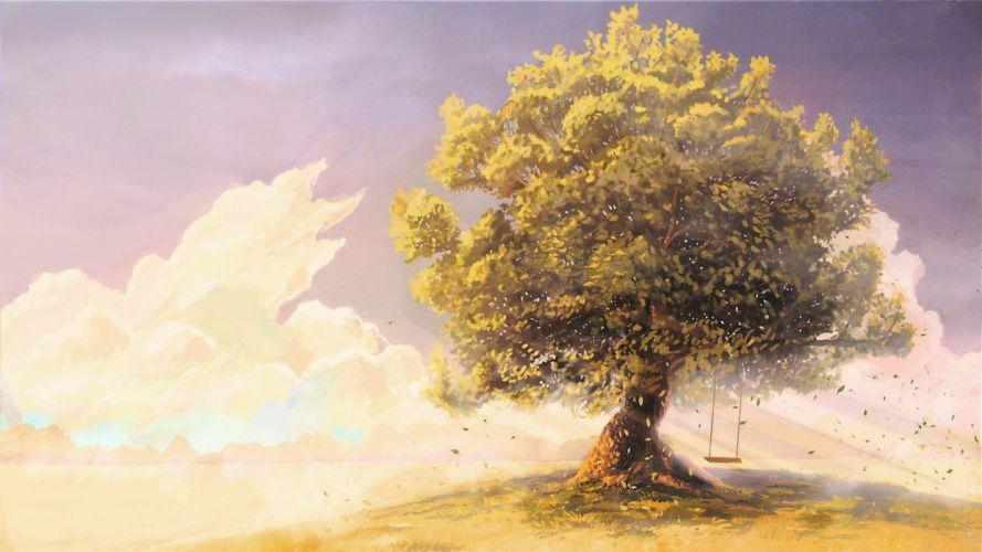 swings-artwork-drawings-tree sky cloud beautiful anime wallpaper