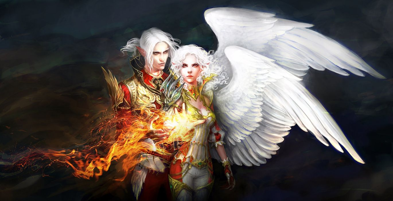 fantasy couple angels wings fire white hair wallpaper