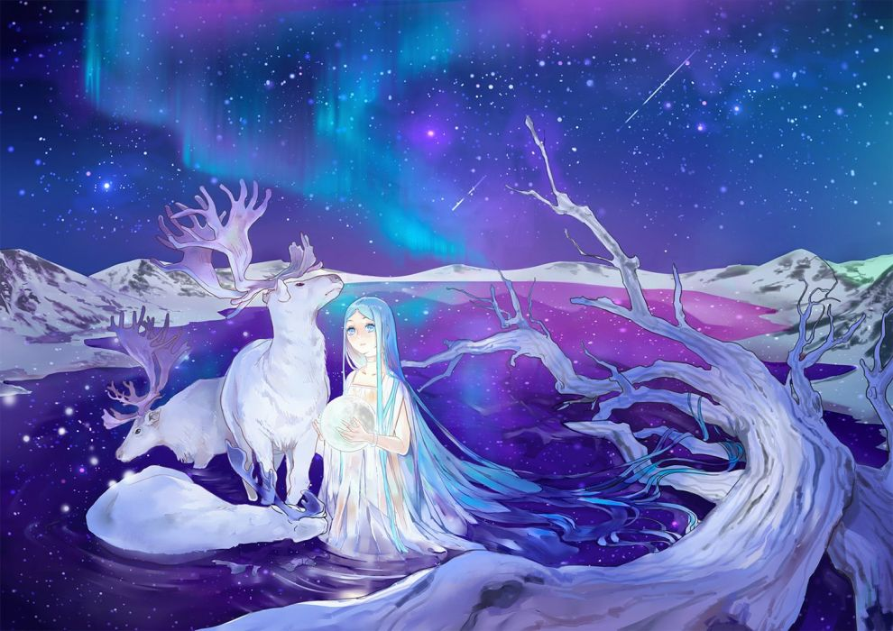original deer girl animal color-long+hair-sky long+hair-aqua+eyes-aqua+hair wallpaper