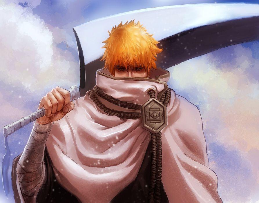 anime series bleach sword orange hair ichigo kurosaki character wallpaper