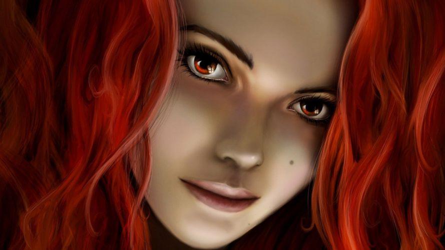girl fantasy red hair face beautiful wallpaper